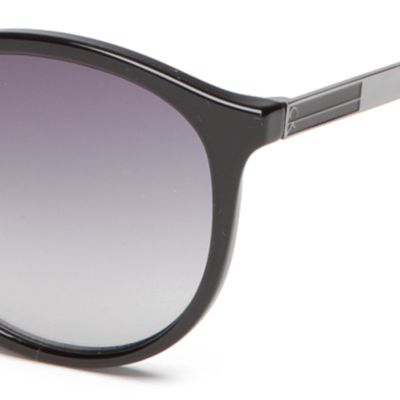 Round Sunglasses: Black Calvin Klein Modified Round With Metal Plaque Sunglasses