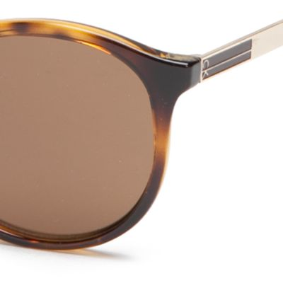 Round Sunglasses: Tokyo Tortoise Calvin Klein Modified Round With Metal Plaque Sunglasses