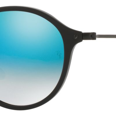Round Sunglasses: Black/Blue Ray-Ban Ombre Flash Round Sunglasses
