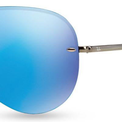Men: Ray-ban Accessories: Blue Ray-Ban Flash Mirror Aviator 59-mm. Sunglasses