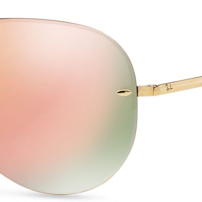 Men: Ray-ban Accessories: Pink Ray-Ban Flash Mirror Aviator 59-mm. Sunglasses