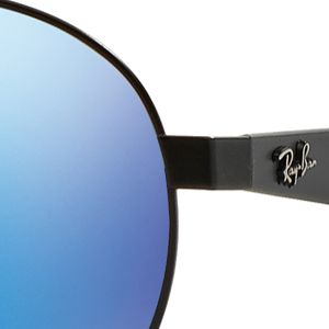 Men: Ray-ban Accessories: Black/Blue Ray-Ban Flash Round Aviator 55-mm. Sunglasses
