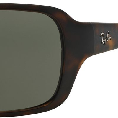 Round Sunglasses: Matte Havana Ray-Ban Polarized Wrap 60-mm. Sunglasses