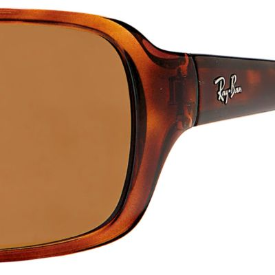 Round Sunglasses: Tortoise Polar Ray-Ban Polarized Wrap 60-mm. Sunglasses