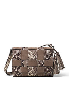 MICHAEL Michael Kors Vivian Medium Woven Embossed-Leather And Suede Crossbody