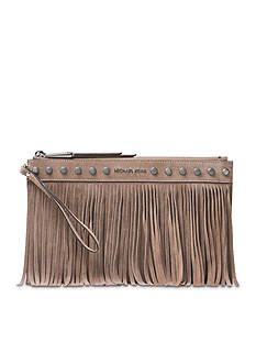MICHAEL Michael Kors Billy XL Suede Fringe Zip Clutch