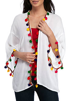 Collection XIIX Multi Pom Trim Kimono