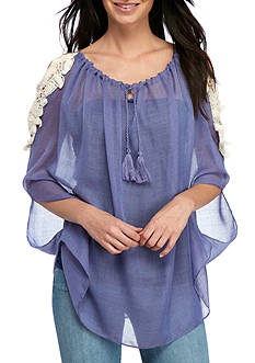Collection XIIX Cold Shoulder Floral Poncho