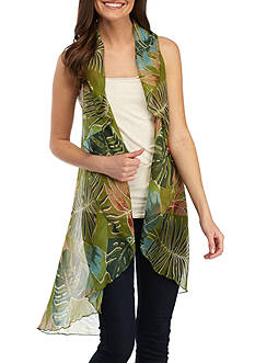 Collection XIIX Feminine Tropical Leaf Vest