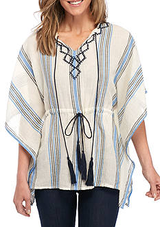 Vince Camuto Embroidered and Stripe Poncho