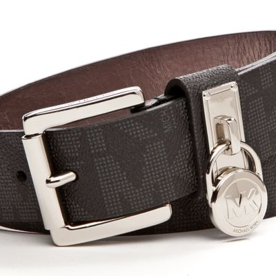 Designer Belts: Black Michael Kors Signature Leather Belt