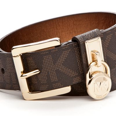 Designer Belts: Chocolate Michael Kors Signature Leather Belt