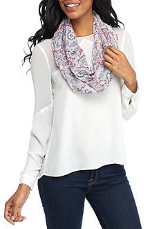 New Directions Points and Lines Paisley Infinity Scarf