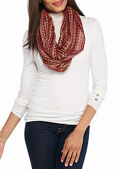 New Directions Metallic Mixed Striped Infinity Scarf