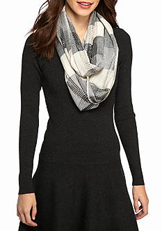 New Directions® Block Plaid Metallic Infinity Scarf