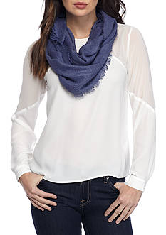 New Directions Embossed Daisy Infinity Scarf