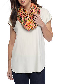 New Directions® Woodcut Floral Bouquet Infinity Scarf