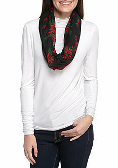 New Directions Poinsettia Bouquet Infinity Scarf