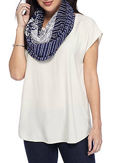 New Directions Mixed Print Floral and Stripe Infinity Scarf