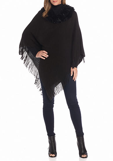 New Directions® Shag Collar Poncho