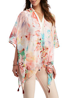 New Directions Shadow Stripe Floral Kimono