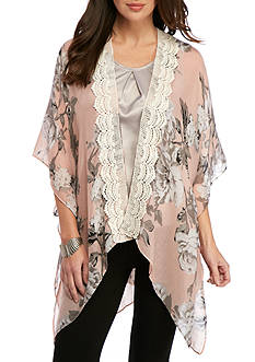 New Directions Floral Trim Kimono