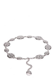 New Directions Silver-Tone Floral Pattern Chain Belt