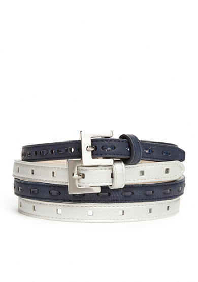New Directions® Laced and Square Belt - Set of 2
