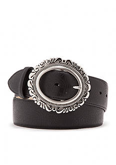 New Directions® Leaf Embossed Filigree Buckle Belt