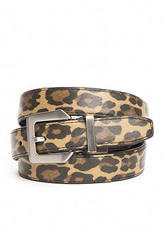 New Directions Leopard Print and Black Reversible Belt