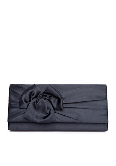 Jessica McClintock East West Satin Gathered Bow Clutch