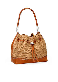 Brighton Drake Straw Drawstring Hobo