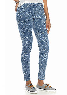 HUE® Floral Denim Jacquard Leggings