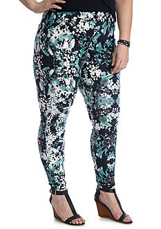 HUE® Plus Size Bouquet Essential Denim Leggings