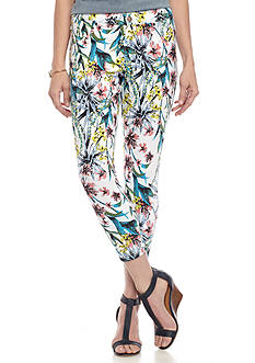 HUE Havana Floral Essential Denim Capri Leggings