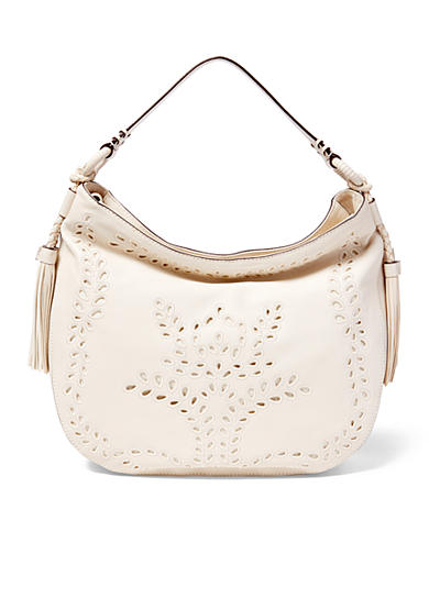 Lauren Ralph Lauren Jamie Perforated Leather Hobo Bag