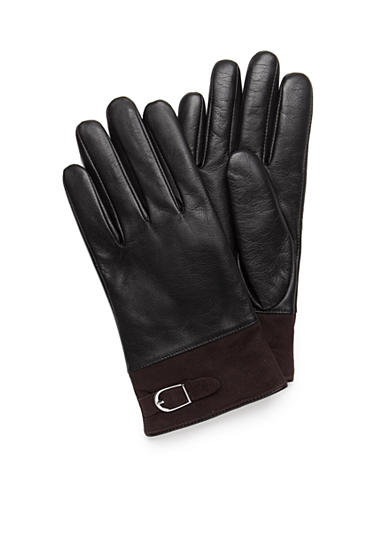 New Directions® Women's Black and Chocolate Leather Gloves