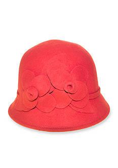 Nine West Felt Cloche With Flowers Hat