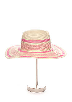 New Directions® Natural and Pink Straw Floppy Hat