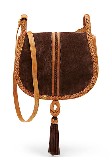 STEVEN Faux Suede Braided Saddle Bag