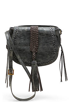 STEVEN Woven Tassel Saddle Bag
