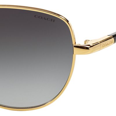 Handbags & Accessories: Coach Designer Sunglasses: Gold Black COACH Uptown Bead Chain Aviator Sunglasses
