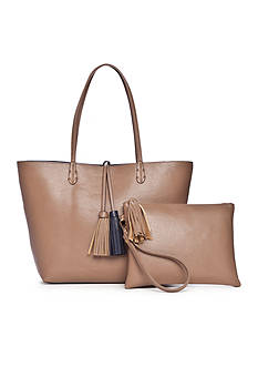 New Directions Reversible Tote Bag With Tassel
