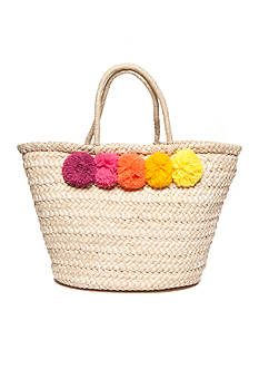 New Directions Straw Bag With Poms