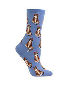 Hot Sox Sitting Tabby Cat Trouser Socks