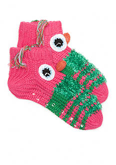 New Directions Hand Knit Barnyard Slipper Socks - Single Pair