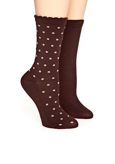 New Directions® Scallop Top Dot 2 Pack of Socks
