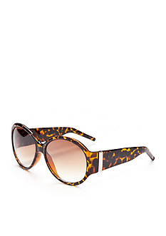 New Directions Plastic Round Tortoise Sunglasses