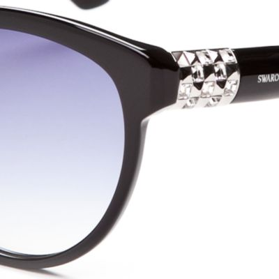 Round Sunglasses: Black SWAROVSKI® Crystal Temple Round Sunglasses