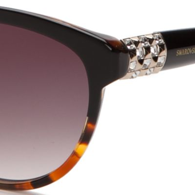 Round Sunglasses: Black/Brown SWAROVSKI® Crystal Temple Round Sunglasses